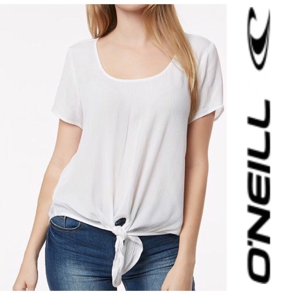 543b66854 O'Neill Tops | Oneill New Wave White Tie Front Top Xl | Poshmark